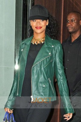 rihanna green leather jacket